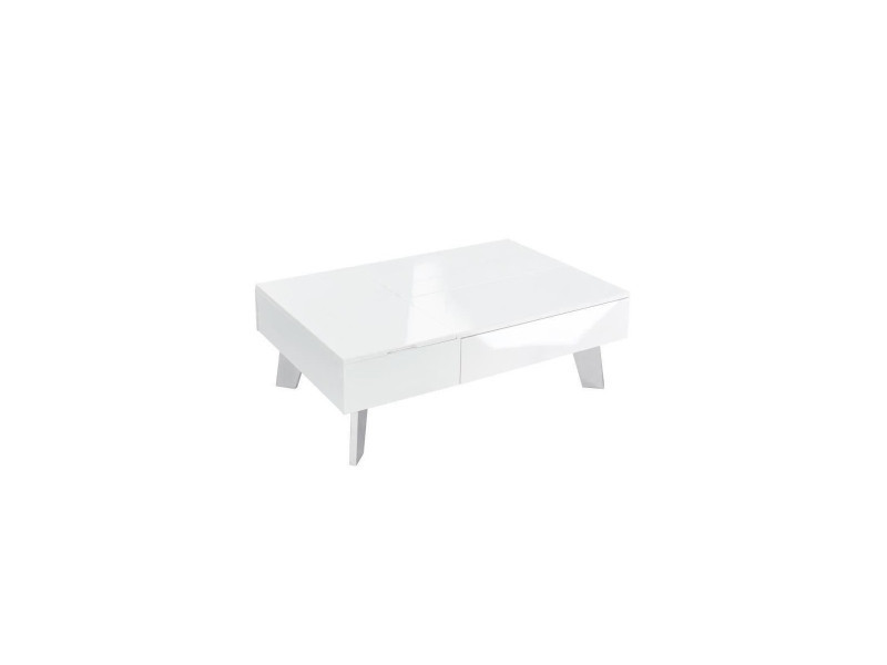 Zanzibar Table Basse Transformable Style Contemporain Laque Blanc