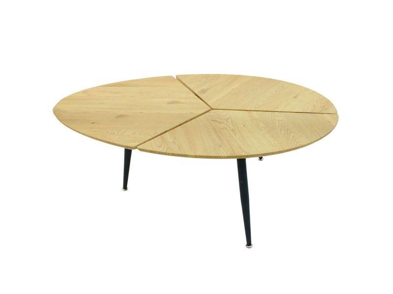 Milda - table basse ovale pieds métal et plateau bois