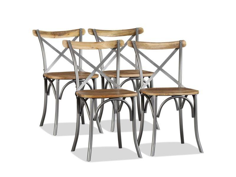 Superbe fauteuils edition harare chaise de salle à manger 4 pcs bois de manguier massif et acier