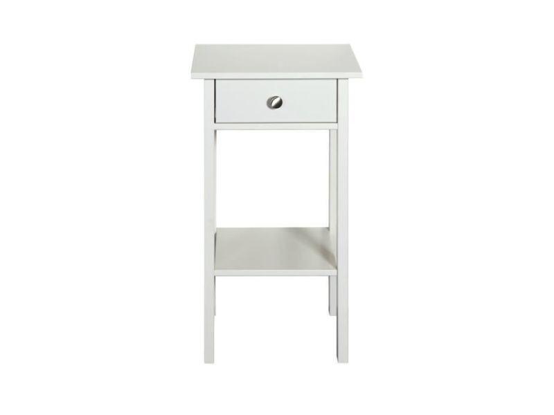 Chevet tromsö chevet 1 tiroir - laqué blanc mdf - l 40 x p 35,5 x h 70 cm