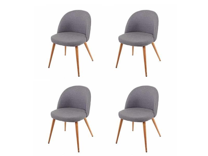 4x chaise de salle à manger hwc-d53, fauteuil, style rétro années 50, en tissu ~ gris foncé