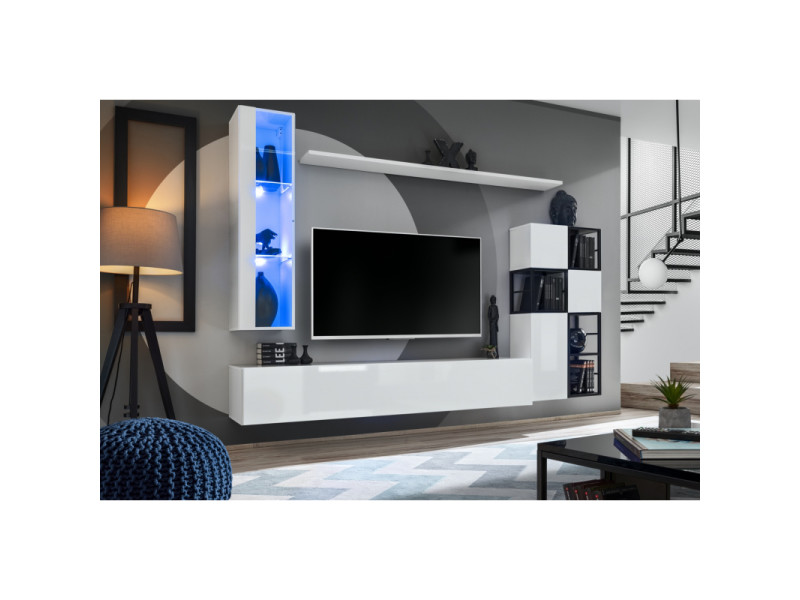 Ensemble meuble tv mural switch met ii - l 250 x p 40 x h 170 cm - blanc