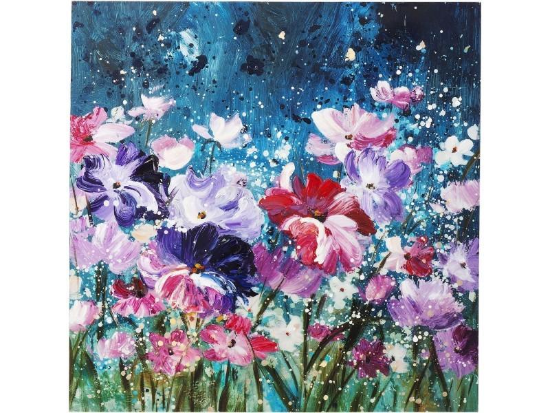 """""""peinture à l'huile nuit de fleurs 100x100cm"""" - Vente de ..."""