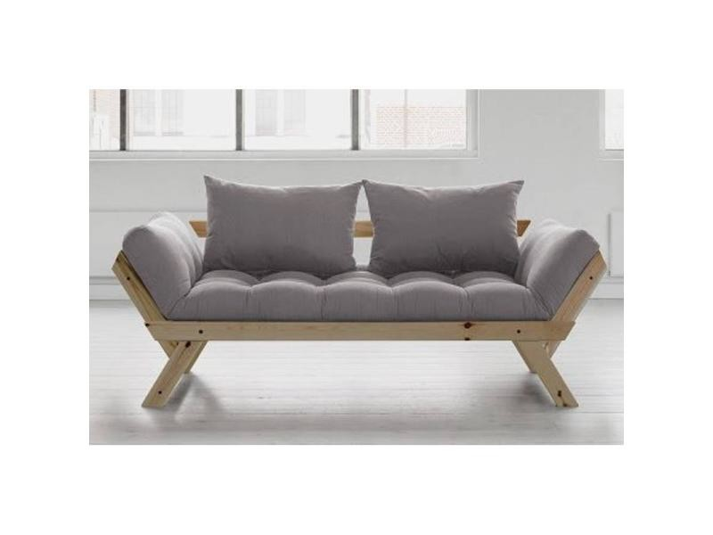 banquette m ridienne style scandinave futon gris bebop couchage 75 200cm 20100851376 conforama. Black Bedroom Furniture Sets. Home Design Ideas