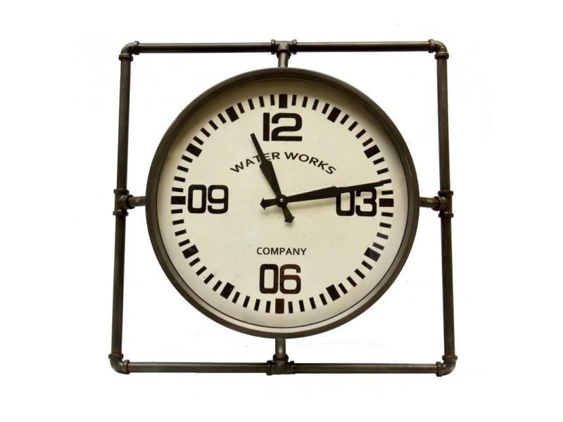 Grande Horloge Ronde Pendule Vintage Cadre Carre En Fer Patine Gris