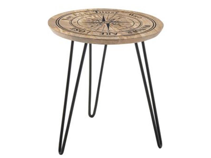 Table d'appoint ronde en bois de manguier avec motif boussole - l.90 x h.46 x p.90 cm -pegane- PEGANE