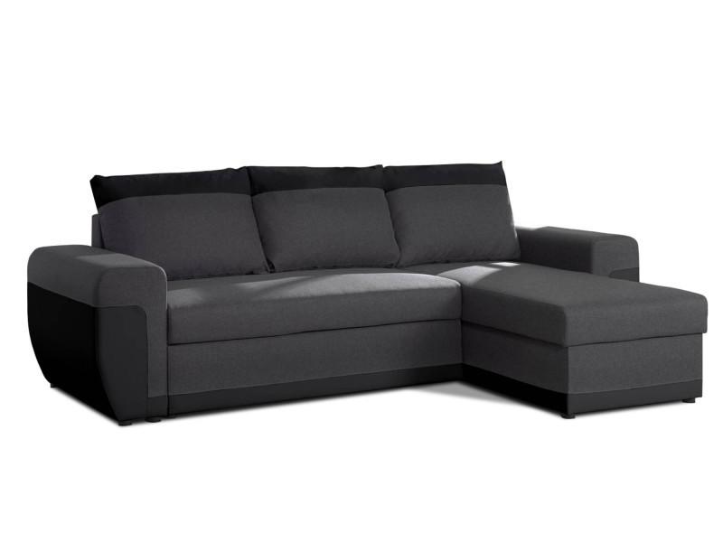 Milan - canapé d'angle réversible - 4 places - convertible avec coffre - en simili et tissu couleur - noir / gris