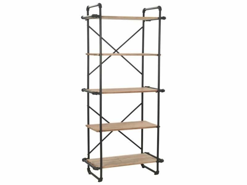 Étagère armoire meuble design bibliothèque bois de sapin massif et acier 180 cm helloshop26 2702051/2