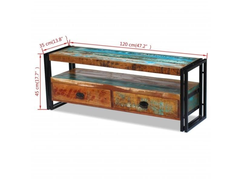 Vidaxl meuble tv bois de récupération massif 243275