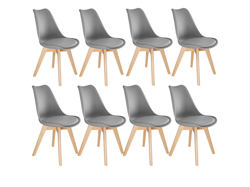 Tectake 8 chaises de salle à manger frédérique style scandinave pieds en bois massif design moderne - gris 403987
