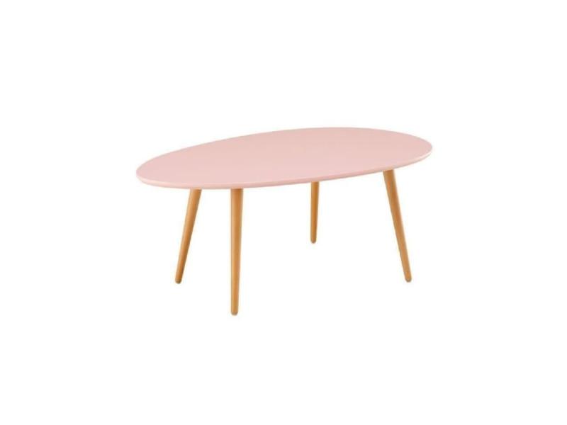 Stone table basse ovale scandinave rose pastel laque - l 98 x l 61 cm