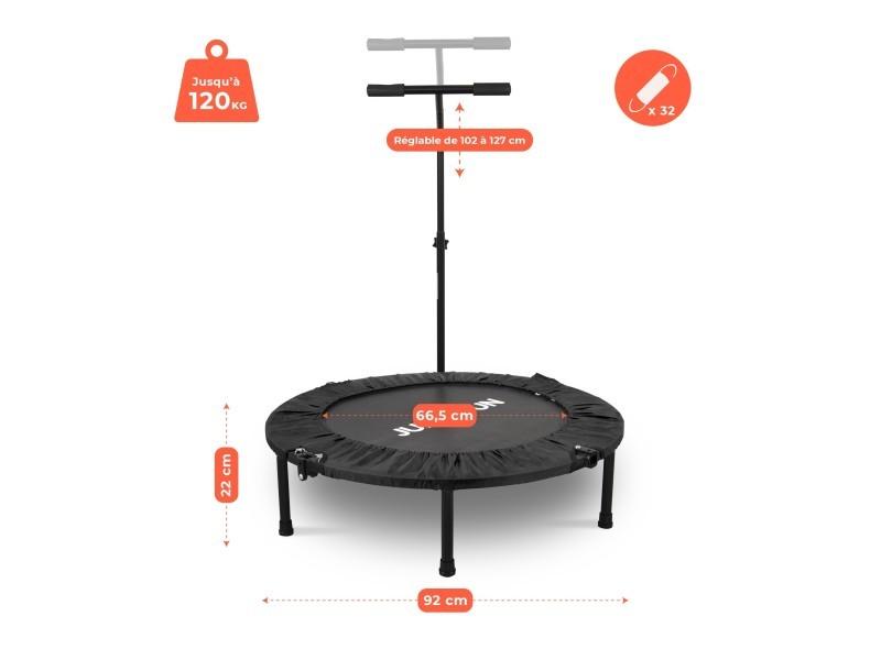 Mini trampoline fitness jump4fun pliable t-bar - ø92cm, noir