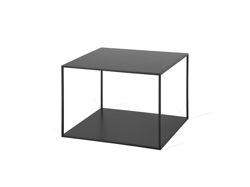 Table basse industrielle carrée en métal flora / coloris : noir