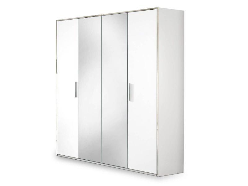 Izia blanche - armoire 4 portes avec penderie et miroir