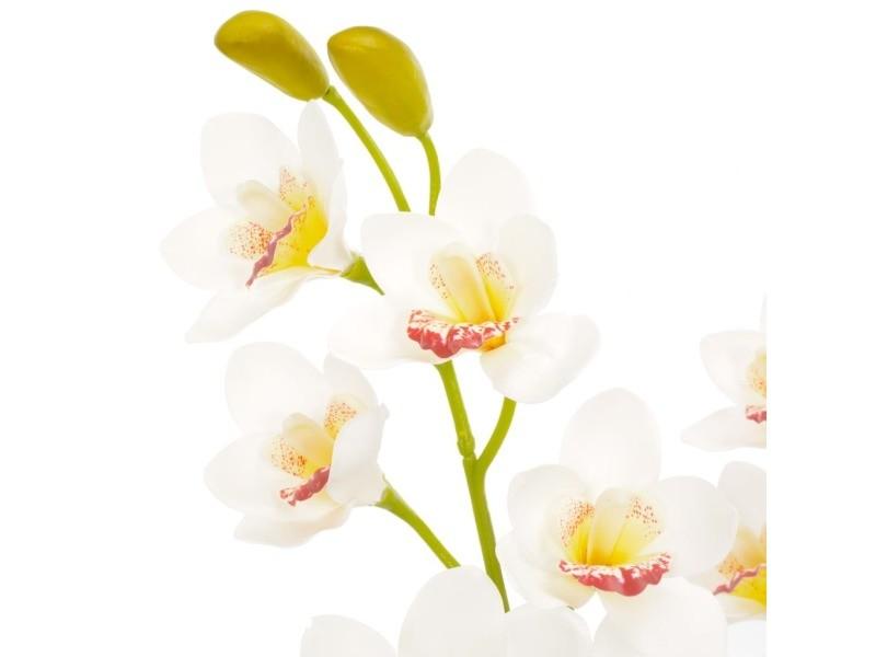Icaverne - fleurs et plantes artificielles ensemble plante artificielle avec pot orchidée blanc 90 cm