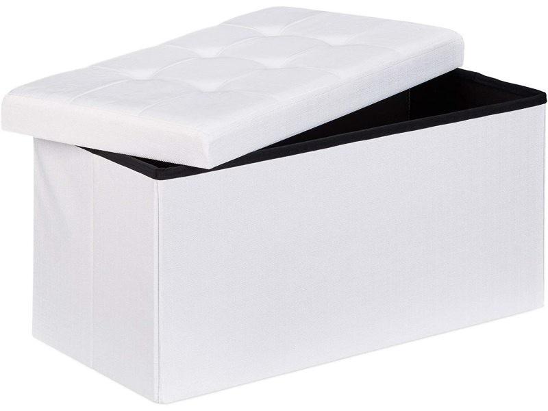 Tabouret banquette pouf de rangement pliant coffre repose-pieds 76 cm lin blanc helloshop26 13_0002337_6