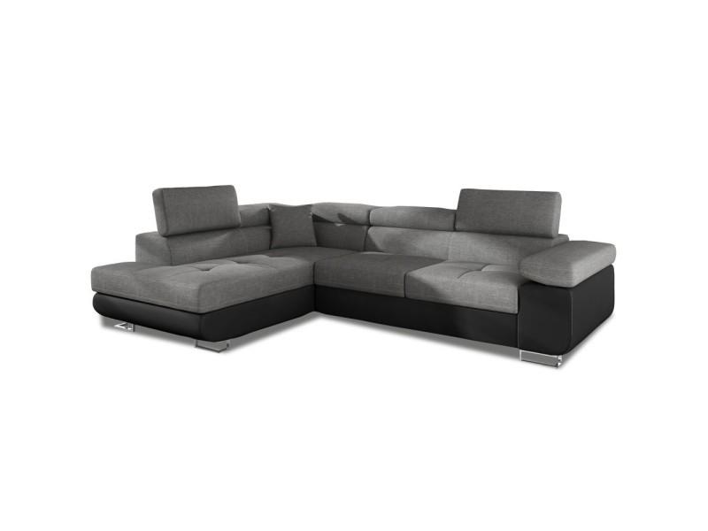 Canapé d'angle gauche convertible marius gris et noir