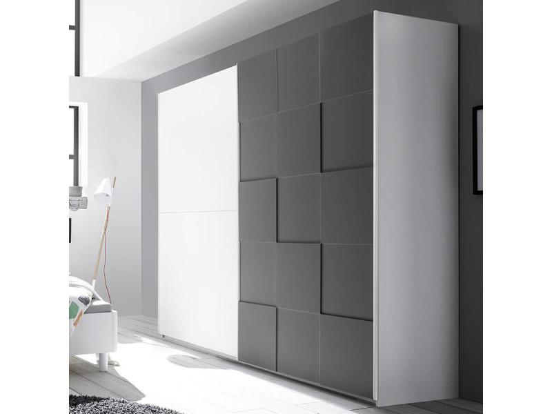 Armoire 220 cm design blanc et gris laqué tiavano