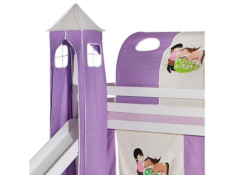 93fcb249676b9d Donjon tour pour lit surélevé superposé mi-hauteur mezzanine avec toboggan  tissu coton motif poney violet - Vente de Lit enfant - Conforama