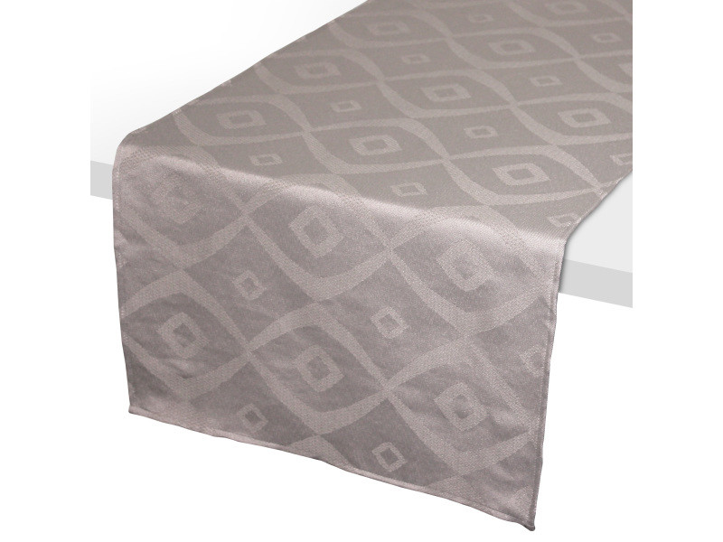 Chemin de table 45x150 cm jacquard 100% polyester brunch taupe