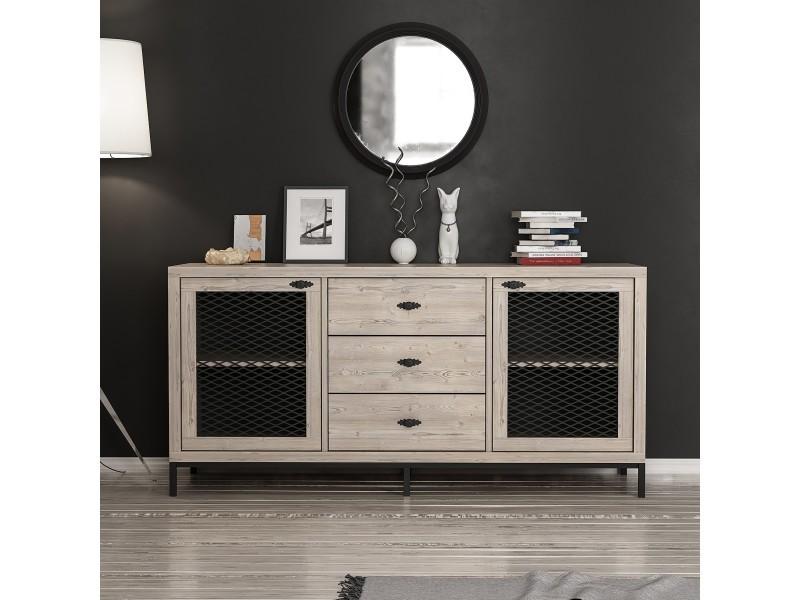 Homemania meuble de rangement multi-usages zeus - avec portes, étagères, tiroirs - pour salon, entrée - noir en bois, 150 x 45 x 79 cm