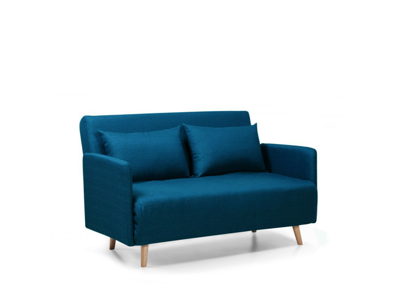 Canap convertible 2 places belushi couleur bleu dy for Canape 2 places conforama