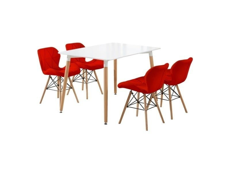 Ensemble table blanche design scandinave + 4 chaises rouges en simili cuir - cecilia halo