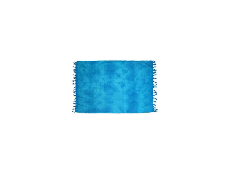 Fouta coton 140x180 cm tie and dye turquoise par soleil d'ocre