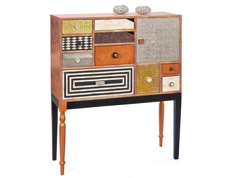 commode 90 cm style vintage en bois massif avec 10 tiroirs structure coloris bois vente de. Black Bedroom Furniture Sets. Home Design Ideas