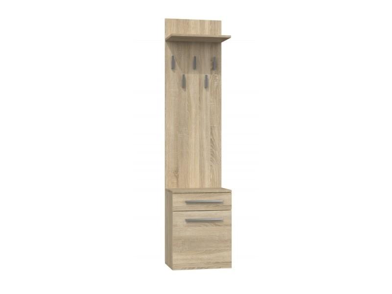 Vioni - meuble vestiaire d'entrée - portemanteau mural avec étgère - 5 crochets - tiroir + meuble de rangement - sonoma