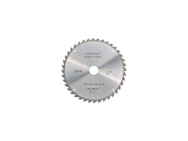 Metabo lame de scie circulaire precision cut - 216 mm - 40 dents - scies a onglets et radiales