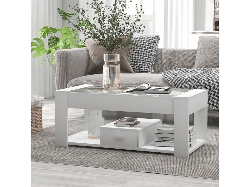 Table basse moderne blanche 100x50x40 cm avec plateau en verre transparent