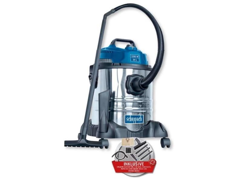 Aspirateur eau et poussiere 20l 1200w avec une brosse combinée, un suceur plat, un filtre mousse et un sac en papie… SCH4046664068624