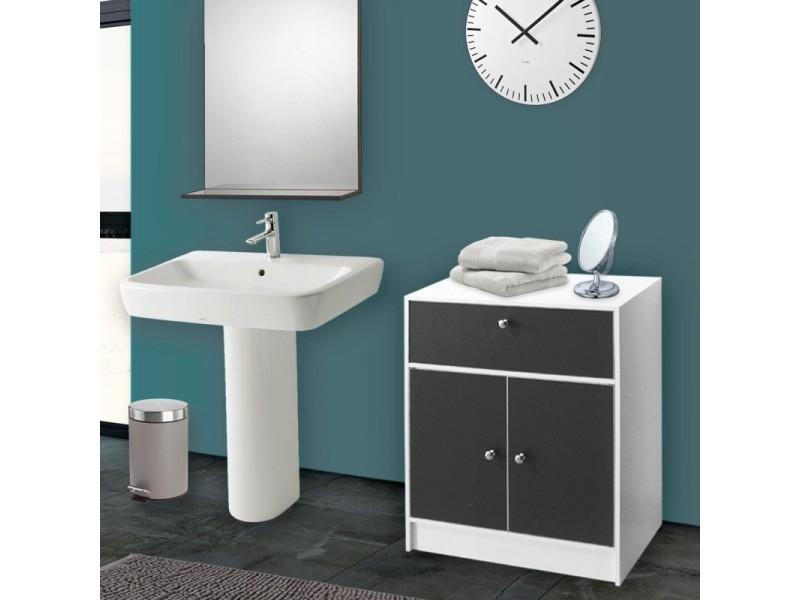 Meuble bas de salle de bain blanc et gris commode de rangement vente de id market conforama - Meuble de rangement gris ...