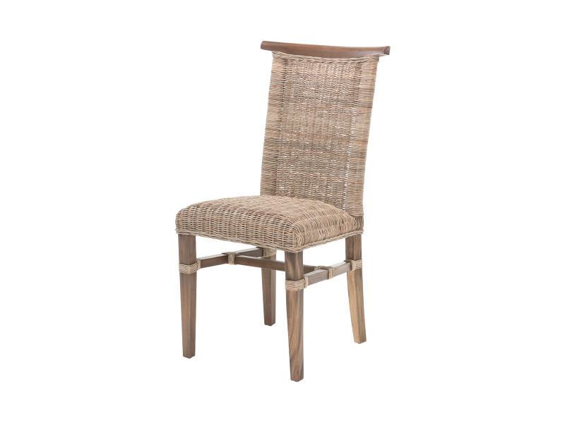 chaise lola en rotin tress avec coussin int gr rotin design conforama. Black Bedroom Furniture Sets. Home Design Ideas