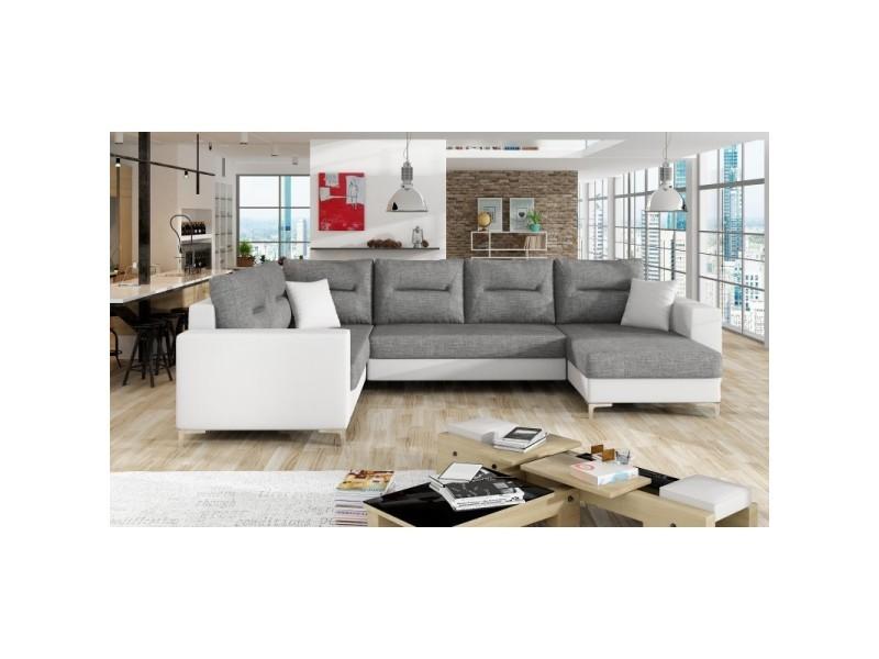 Canapé d'angle panoramique en u convertible dorado - angle droit - tissu gris clair/ pu blanc