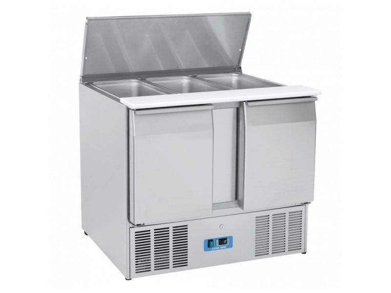 Saladette réfrigérée couvercle inox 270 l - 2 portes gn 1/1- cool head - r600a 2 portes pleine
