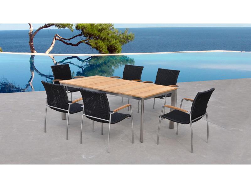 Table de jardin en bois de teck 6 places - melbourne - Vente de ...