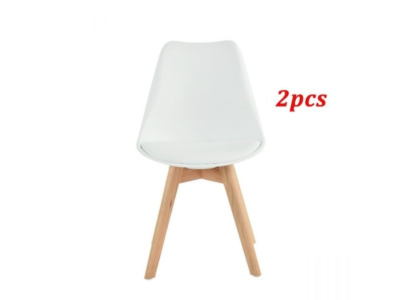 2 pièce chaise de cuisine salle à manger design scandinave assise rembourrée pieds en bois de hêtre massif - blanc