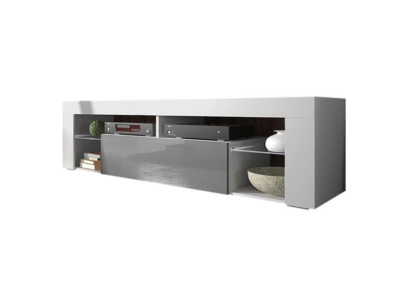 Meuble tv - bianko - 140 cm - blanc mat / gris brillant
