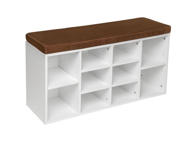 Tectake meuble à chaussures banc - marron/blanc 402075