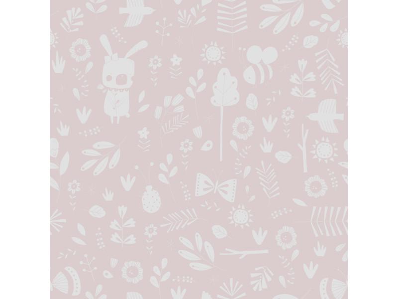 Papier peint intissé enfant rose farandole d'animaux 8683