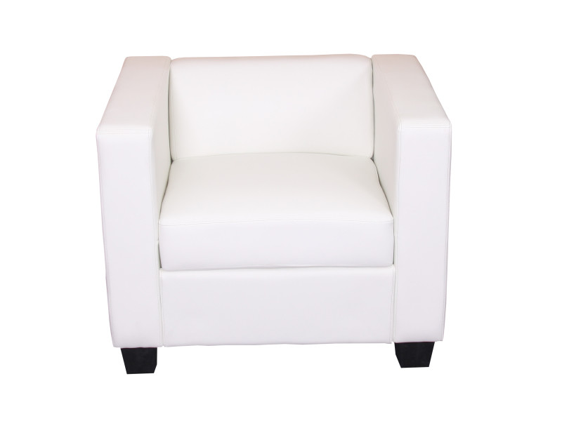 Fauteuil club / lounge lille, 86x75x70cm, simili-cuir, blanc