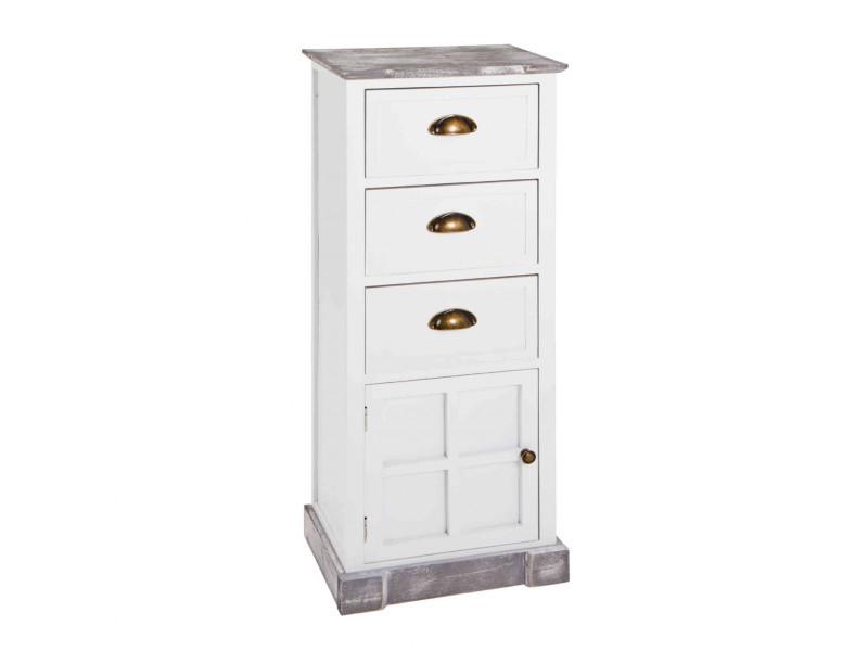 Commode 3 tiroirs 1 porte en bois massif blanc laqué et gris blanchi - co15011
