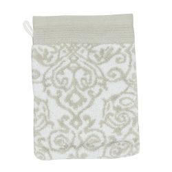 Gant de toilette 16x21 cm bolero floral gris 520 g/m2
