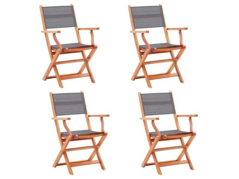 Vidaxl chaises pliables de jardin 4 pcs gris eucalyptus et textilène 48691