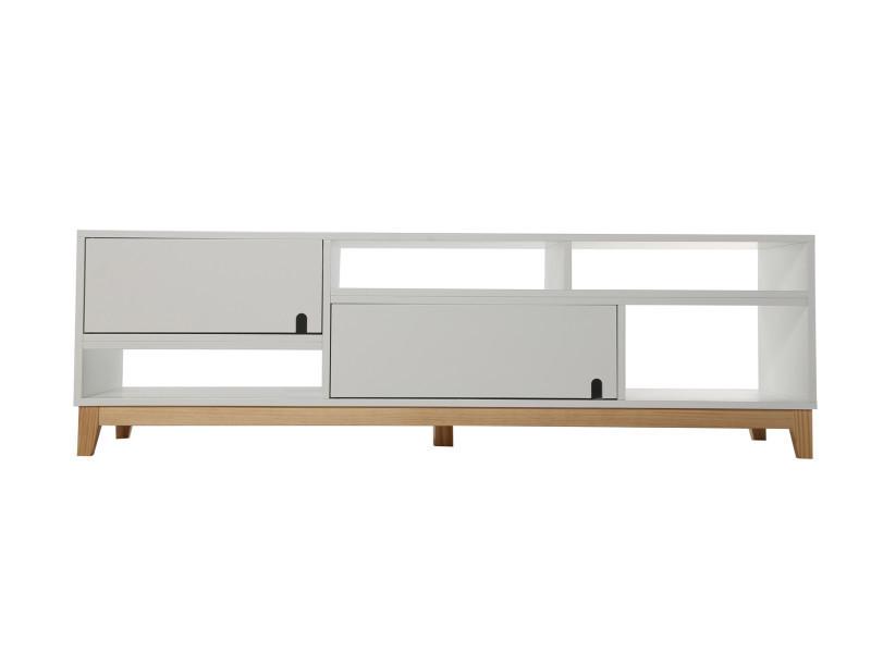 Meuble tv 2 portes en mdf blanc, 150x45x45,5cm -pegane-