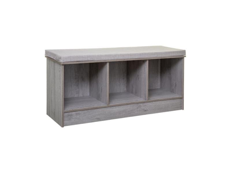 Five - 2 en 1 banc et rangement en bois gris 3 cases mix n' modul