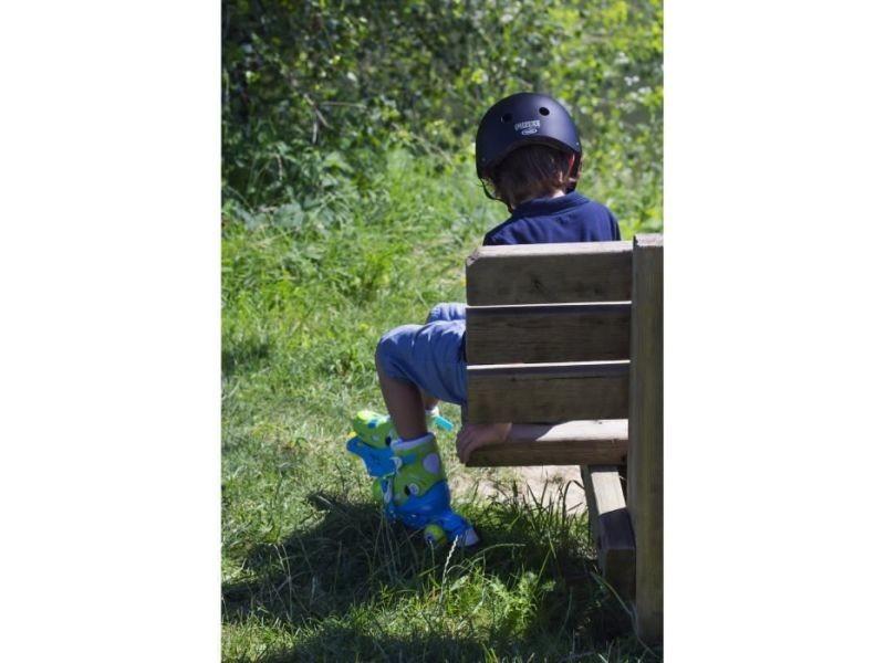 Roller in line rollers inline 2 en 1 (3 roues) coloris bleu pour enfant