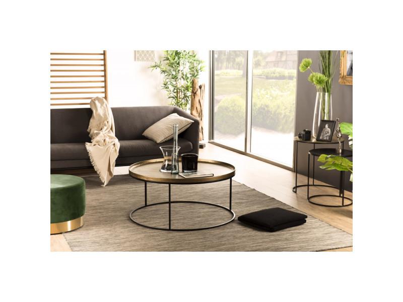 Table basse ronde 88x88cm aluminium doré pieds ronds métal